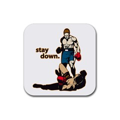 Stay Down Boxing Rubber Square Coaster (4 Pack) by MegaSportsFan