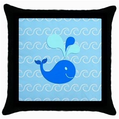 Playing In The Waves Black Throw Pillow Case by StuffOrSomething