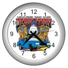Demolition Derby Wall Clock (silver) by MegaSportsFan