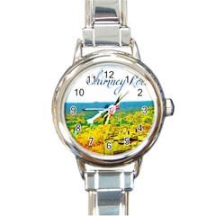 Chimney Rock Overlook Air Brushed Round Italian Charm Watch by Majesticmountain