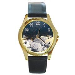 Atlantic Ocean Round Leather Watch (gold Rim)  by DmitrysTravels