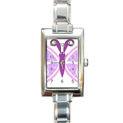 Whimsical Awareness Butterfly Rectangular Italian Charm Watch by FunWithFibro