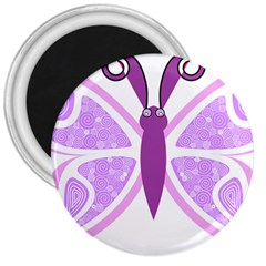 Whimsical Awareness Butterfly 3  Button Magnet by FunWithFibro