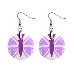 Whimsical Awareness Butterfly Mini Button Earrings by FunWithFibro