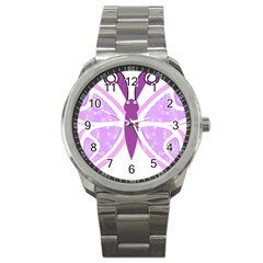 Whimsical Awareness Butterfly Sport Metal Watch by FunWithFibro