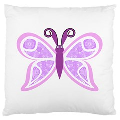 Whimsical Awareness Butterfly Large Cushion Case (two Sided)  by FunWithFibro
