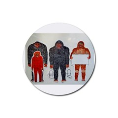 1 Neanderthal & 3 Big Foot,on White, Drink Coaster (round) by creationtruth