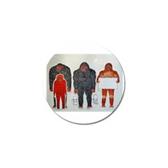 1 Neanderthal & 3 Big Foot,on White, Golf Ball Marker 10 Pack by creationtruth