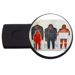 1 Neanderthal & 3 Big Foot,on White, 2gb Usb Flash Drive (round) by creationtruth