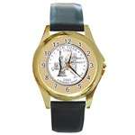 NEW YORK GOLD Round Gold Metal Watch