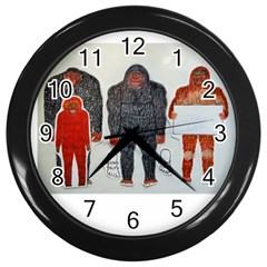 1 Neanderthal & 3 Big Foot,on White, Wall Clock (black) by creationtruth