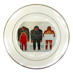 1 Neanderthal & 3 Big Foot,on White, Porcelain Display Plate by creationtruth