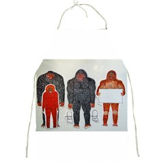 1 Neanderthal & 3 Big Foot,on White, Apron by creationtruth