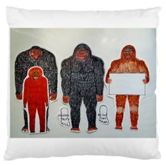 1 Neanderthal & 3 Big Foot,on White, Large Cushion Case (two Sided)  by creationtruth