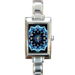 Crystal Star, Abstract Glowing Blue Mandala Rectangular Italian Charm Watch by DianeClancy