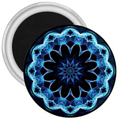 Crystal Star, Abstract Glowing Blue Mandala 3  Button Magnet by DianeClancy