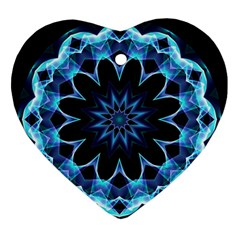 Crystal Star, Abstract Glowing Blue Mandala Heart Ornament by DianeClancy