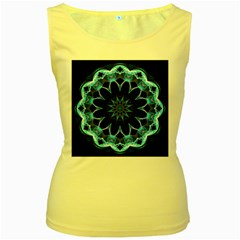 Crystal Star, Abstract Glowing Blue Mandala Women s Tank Top (yellow) by DianeClancy