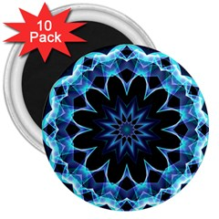 Crystal Star, Abstract Glowing Blue Mandala 3  Button Magnet (10 Pack) by DianeClancy
