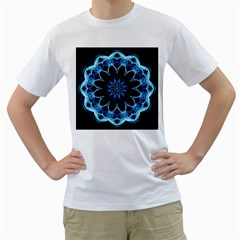 Crystal Star, Abstract Glowing Blue Mandala Men s Two Sided T Shirt (white) by DianeClancy