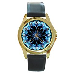 Crystal Star, Abstract Glowing Blue Mandala Round Leather Watch (gold Rim)  by DianeClancy