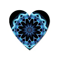 Crystal Star, Abstract Glowing Blue Mandala Magnet (heart) by DianeClancy