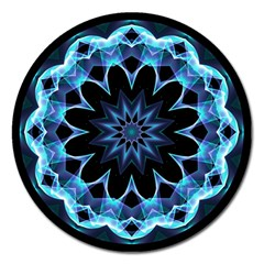 Crystal Star, Abstract Glowing Blue Mandala Magnet 5  (round) by DianeClancy