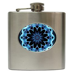 Crystal Star, Abstract Glowing Blue Mandala Hip Flask by DianeClancy
