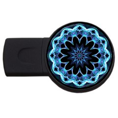 Crystal Star, Abstract Glowing Blue Mandala 2gb Usb Flash Drive (round) by DianeClancy