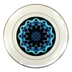 Crystal Star, Abstract Glowing Blue Mandala Porcelain Display Plate by DianeClancy