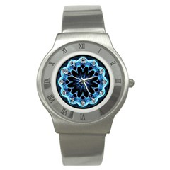 Crystal Star, Abstract Glowing Blue Mandala Stainless Steel Watch (slim)