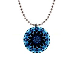 Crystal Star, Abstract Glowing Blue Mandala Button Necklace