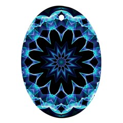 Crystal Star, Abstract Glowing Blue Mandala Oval Ornament (two Sides) by DianeClancy