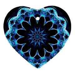 Crystal Star, Abstract Glowing Blue Mandala Heart Ornament (two Sides) by DianeClancy