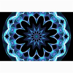 Crystal Star, Abstract Glowing Blue Mandala Canvas 12  X 18  (unframed) by DianeClancy