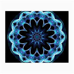 Crystal Star, Abstract Glowing Blue Mandala Glasses Cloth (small, Two Sided) by DianeClancy