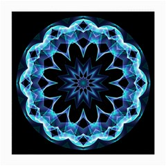 Crystal Star, Abstract Glowing Blue Mandala Glasses Cloth (medium) by DianeClancy