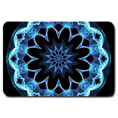 Crystal Star, Abstract Glowing Blue Mandala Large Door Mat by DianeClancy