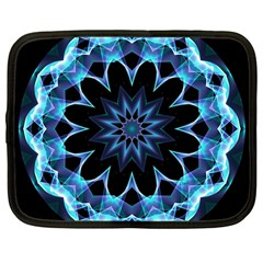 Crystal Star, Abstract Glowing Blue Mandala Netbook Sleeve (large) by DianeClancy