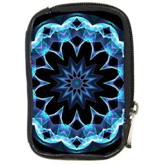 Crystal Star, Abstract Glowing Blue Mandala Compact Camera Leather Case by DianeClancy