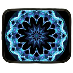 Crystal Star, Abstract Glowing Blue Mandala Netbook Sleeve (xl) by DianeClancy