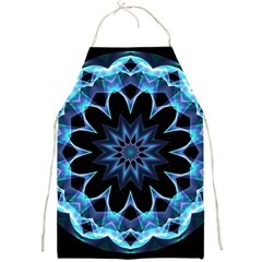 Crystal Star, Abstract Glowing Blue Mandala Apron by DianeClancy