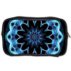 Crystal Star, Abstract Glowing Blue Mandala Travel Toiletry Bag (one Side) by DianeClancy