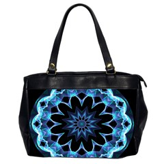 Crystal Star, Abstract Glowing Blue Mandala Oversize Office Handbag (two Sides) by DianeClancy