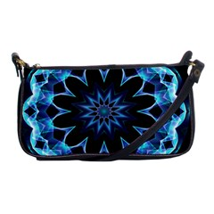 Crystal Star, Abstract Glowing Blue Mandala Evening Bag by DianeClancy