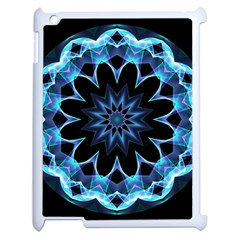 Crystal Star, Abstract Glowing Blue Mandala Apple Ipad 2 Case (white) by DianeClancy