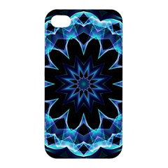Crystal Star, Abstract Glowing Blue Mandala Apple Iphone 4/4s Hardshell Case by DianeClancy