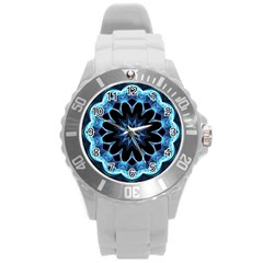 Crystal Star, Abstract Glowing Blue Mandala Plastic Sport Watch (large) by DianeClancy