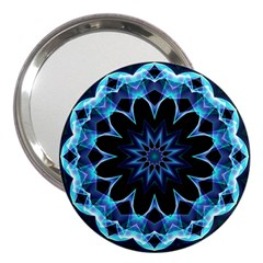 Crystal Star, Abstract Glowing Blue Mandala 3  Handbag Mirror by DianeClancy