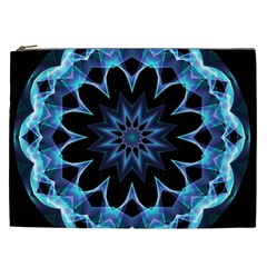 Crystal Star, Abstract Glowing Blue Mandala Cosmetic Bag (xxl) by DianeClancy